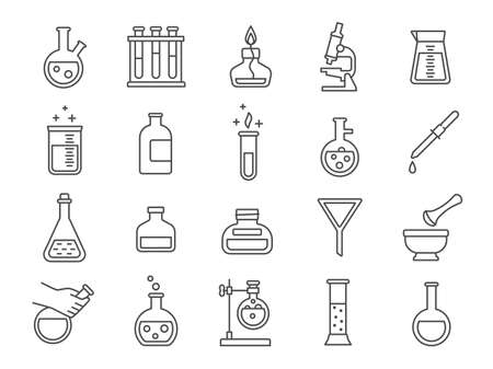 Chemistry or science research laboratory equipment line icons. Pharmacy lab glassware, beakers, test tube and flasks pictograms vector set. Illustration of glass lab beaker, glassware and medical icon 向量圖像