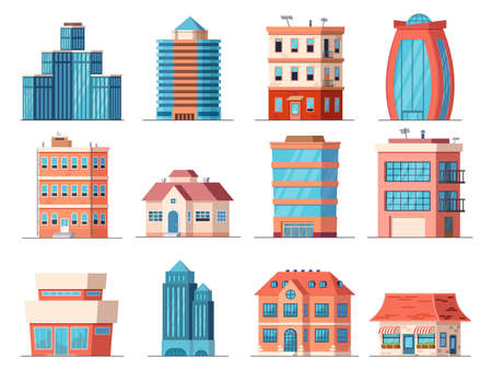 Cartoon office city buildings, skyscraper and downtown apartment house. Real estate, business tower, shop and cafe building. Town vector set