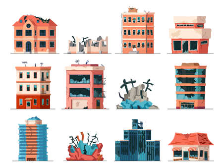 Old ruined, abandoned and collapsed city office buildings. Apartment houses damaged by war or earthquake. Broken town buildings vector set