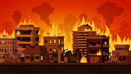 Cartoon apocalyptic city landscape with destroyed building on fire. Cityscape with burn street houses and smoke. Fire in town vector. Illustration of wildfire district, city damage and destroyed fire 向量圖像