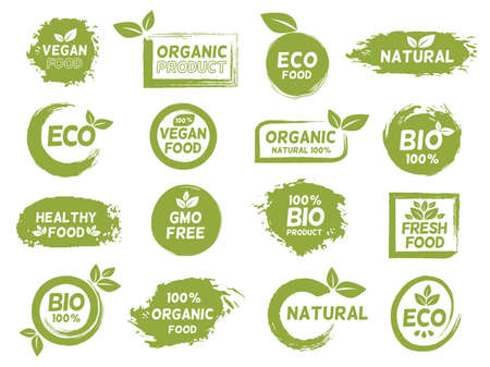 Green eco, organic and vegan product grunge label. Fresh healthy food  . Bio natural, gmo free, vegetarian package  stamp vector set