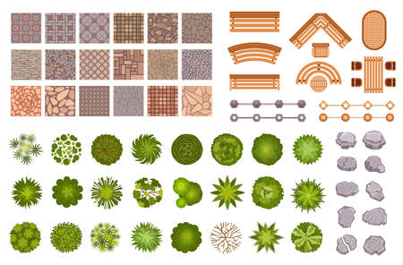 City park landscape design map elements top view. Garden trees and plant, benches, road path tile and rocks from above. Park plan vector set of element to landscape outdoor and map