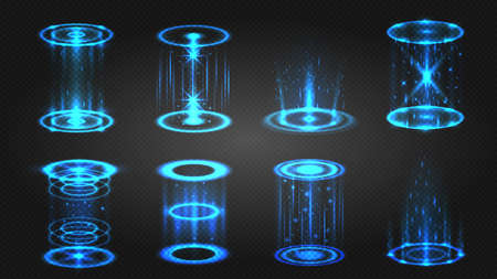 Futuristic hologram portal, magic teleport or level up effect. Glowing neon circle with light sparkles for game. Digital podium vector set