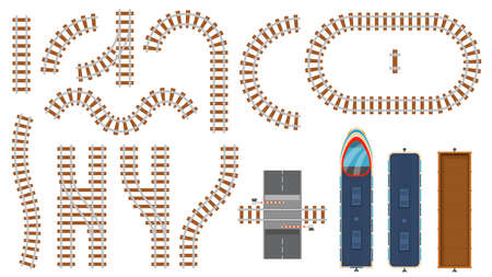 Flat railway and railroad elements top view. Train track map construction, barrier, curved rail roads, locomotive and cargo wagon vector set 向量圖像