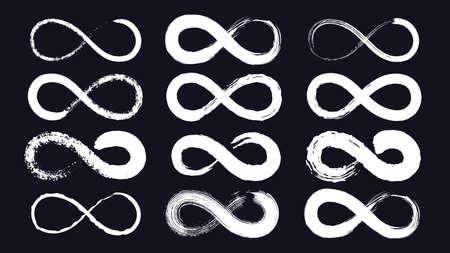 Infinity symbols or eternity loop drawn with grunge ink brush. Endless line stroke. Calligraphy infinite emblem. Moebius ribbon vector set 向量圖像