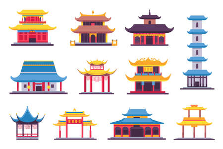 Flat chinese and japanese buildings, ancient temple, pagoda and shrine. Asian old architecture in traditional style. China houses vector set. Illustration of building japanese, ancient architecture