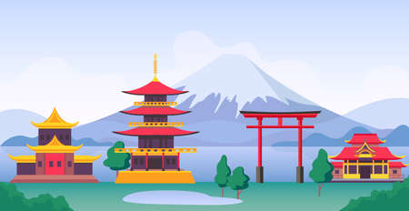 Japan landscape with mountain Fuji, landmarks, temples and old building. Japanese tourism travel scenery with pagoda and gates vector scene. Illustration of pagoda and shrine, fuji landscape