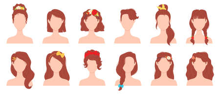 Flat woman hairstyles with flower, ribbon and bow accessory. Young female haircut with hair pins, ties and bands. Girl hairstyle vector set
