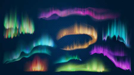 Realistic lights of arctic aurora borealis, northern natural phenomenon. Abstract glowing wavy effect. Polar night sky landscape 向量圖像