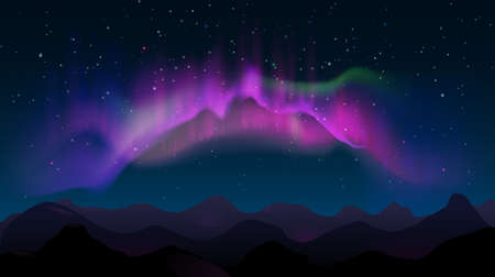 Abstract mountain night landscape with aurora borealis and stars. Northern colored lights in sky, polar natural glowing vector illustration