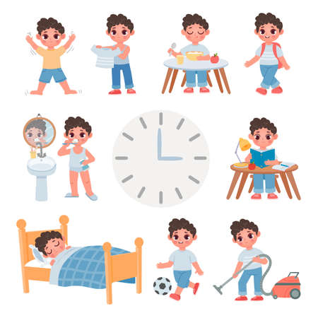 Day routine activity for cartoon school kid boy. Daily schedule with cute boy sleep, eat, play, study and clean. Health lifestyle vector set