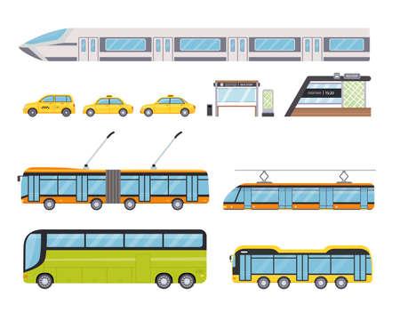 Flat public city land transport and yellow taxi car. Urban vehicles and bus stop. Cartoon trolleybus, underground train and tram vector set Illusztráció
