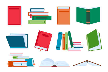 Flat open and close books, library piles and stacks. Novel book with bookmark. Textbooks for reading and education. Literature vector set