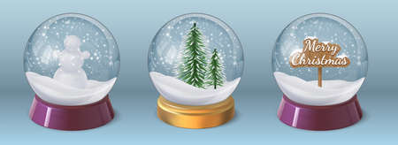 Realistic crystal snow ball with snowman and christmas tree. Glass globe sphere with winter holiday decoration. 3d xmas snowglobe vector set Illusztráció