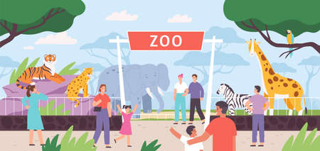 Flat zoo entrance gates with visitor family and kids. Cartoon safari park with people and african savannah animals in cages vector landscape