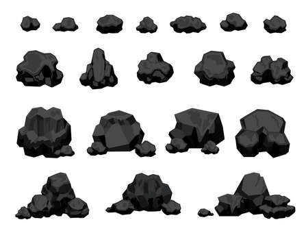 Cartoon mine black coal pieces and piles, burning material. Charcoal lumps for fire, natural energy power production. Coal rocks vector set