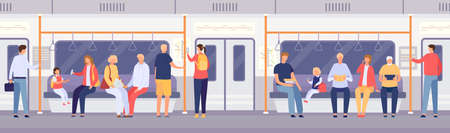Passenger crowd inside subway train or city bus. Cartoon people standing and sitting in public transport. Travel by metro car vector concept