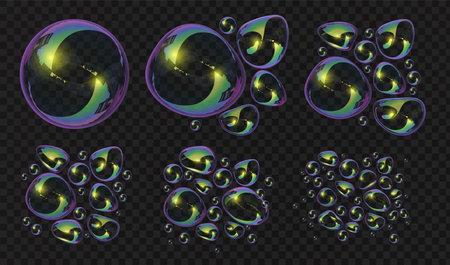 Realistic 3d soap bubbles and blobs break deformation. Glossy spheres with reflection. Transparent bath foam water bubble blowing vector set Illusztráció