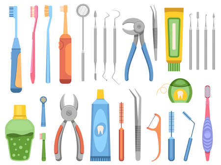 Flat stomatology clinic equipment, dentist tools, toothbrushes and mouthwash. Mouth and teeth, oral care professional instruments vector set Illusztráció