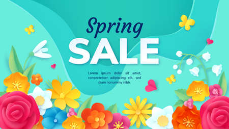 Spring sale promotion banner with paper cut flowers. Poster with 3d origami floral decoration. Fashion product discount offer vector design Illusztráció