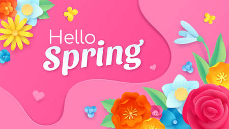 Hello spring banner with paper cut flower, leaf and butterflies. Frame template with floral decoration. Spring greeting card vector design