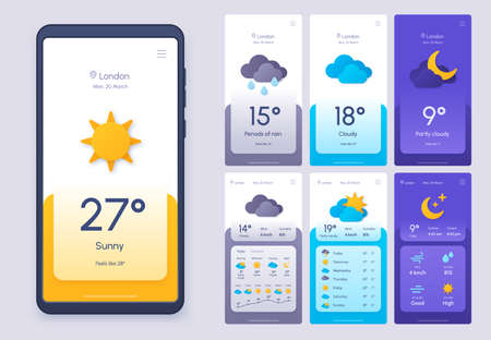 Daily weather forecast phone app in 3d paper cut style. Climate and atmosphere widget template for smartphone. Meteo condition ui vector set