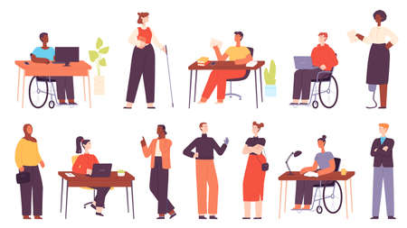 Inclusive multicultural office workers at workplace. Cartoon business people in wheelchair, disabled character at work. Diversity vector set Illusztráció