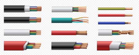 Realistic electric power coaxial cables with copper wire. 3d intertwined cable with plastic safety jacket. Conductor connection vector set Illusztráció
