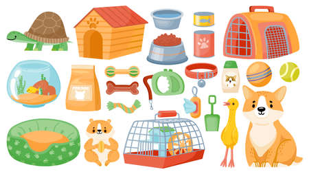 Cartoon pet food, accessories, care items, toys and treats. Animal shop supplies, collar, dog grooming, hamster cage and aquarium vector set