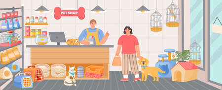 Pet shop inside interior with cashier and customer with dog. Animal food, accessory and toys in store. Cartoon zoo supermarket vector scene Illusztráció