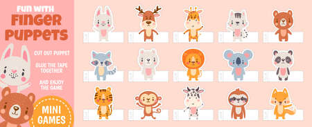 Finger puppets forest animals for paper cut kids activities. Home theater with handmade cartoon toys. Children craft education vector page