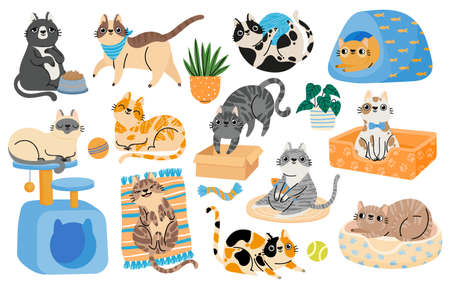 Cartoon cats playing with toys, relaxing and sleeping in bed. Hapy pet kitten characters in funny poses. Cute tabby cat stickers vector set Illusztráció