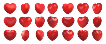 Valentines day love symbol, 3d hearts rotation. Realistic romantic emoji, red heart icon front and spin angle view. Wedding decor vector set