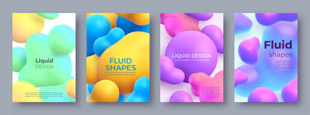 Abstract posters with flowing fluid 3d balls and blobs. Morphing liquid shapes design. Modern paint bubbles and blots vector background set Illusztráció