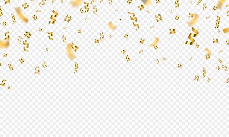 Golden falling 3d confetti, party or celebration background. Gold flying award tinsel, ribbon and glitter. Holiday festive vector decoration Illusztráció