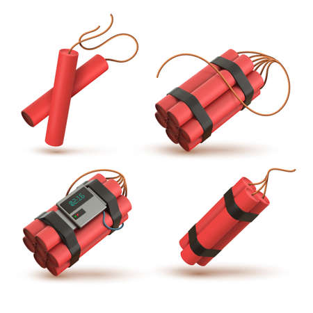Realistic 3d red dynamite bomb with electronic timer detonator. Tnt sticks with wick. Explosive weapon, pyrotechnic, firecrackers vector set