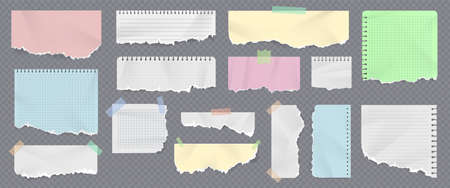 Colored paper notebook strips and pages with ripped edges. Realistic torn copybook pieces with duct tape. Crumpled sticky notes vector set Illusztráció