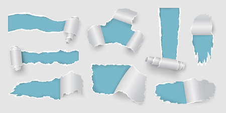 Realistic page with rip and torn holes and paper roll. White ripped sheet frames for sale poster. Teared and ragged paper pieces vector set Illusztráció