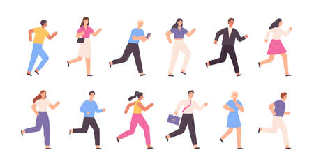 Flat running people, business man, woman, jogging characters. Outdoor sport activity. Success competition concept. Cartoon runner vector set
