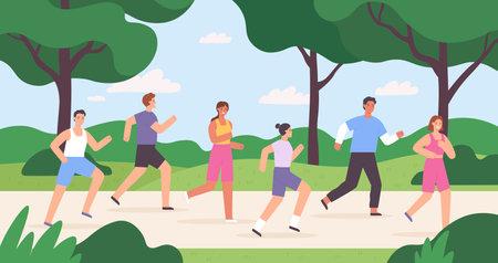 Cartoon group of people jogging in city park, race competition. Outdoor run exercise. Men and women athletes running marathon vector concept Illusztráció