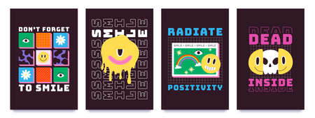 T-shirt design with psychedelic smiley faces, graffiti art. Melting emoji with skull, rainbow and slogan. Cool 70s groovy prints vector set