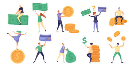 Tiny characters hold money bill, coin and salary. Cartoon rich people with currency. Finance debts, savings and investing concept vector set