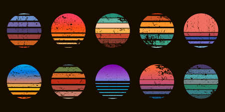 Retro 90s abstract ocean sunset circle badges. Surf beach graphic sunrise with gradient and grunge texture. Neon vintage sunset vector set Illusztráció
