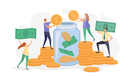 Flat people throwing money, bills and coins into glass jar. Characters collect donations. Family or business savings in bank vector concept