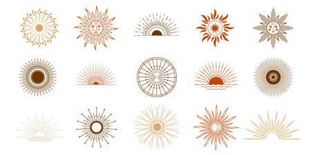 Line sunset and sun shine with rays. Yoga meditation celestial symbols tattoo. Boho astrology mystic sun with face vector set 向量圖像