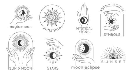 Mystic hands with star, sun and moon line. Astrology esoteric design with magic woman hands, sunset and sunshine minimal vector set