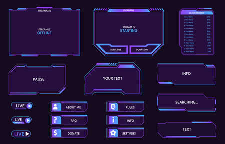 Digital futuristic ui panels and buttons, game live stream. Neon HUD frames, leaderboard, menu and bars for video streaming show vector set 向量圖像