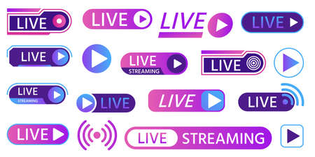 Live icons for game streaming, tv broadcasting, show or news on air. Buttons and bars for social media, online living video event vector set