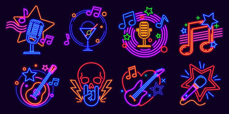 Neon signs for karaoke club and stand up comedy show. Music party night glowing logo with microphones and note. Karaoke bar event vector set