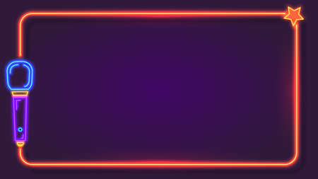 Night neon karaoke frame for song lyrics with microphone. Music bar club singer party show stand. Karaoke sign text border vector template 向量圖像